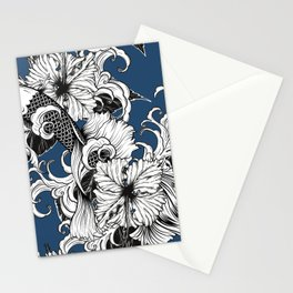 Blue Floral Koi Pattern Stationery Cards