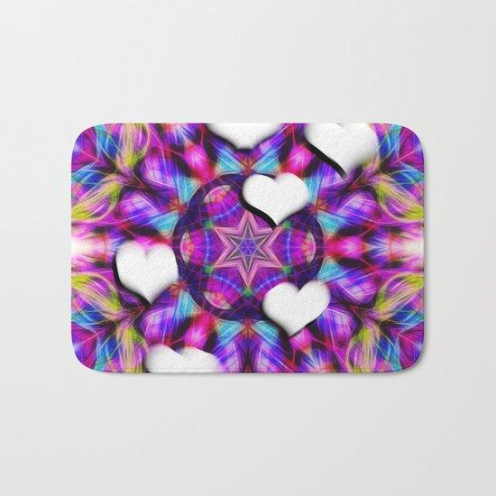 Floating hearts on abstract vibrant kaleidoscope Bath Mat
