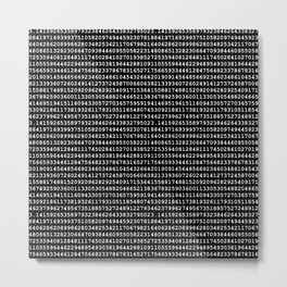 Pi on Black Metal Print