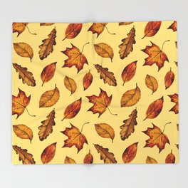 Painted Autumn Leaves Falling Pattern Throw Blanket