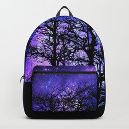 Black Trees Blue Violet Purple Space Backpack