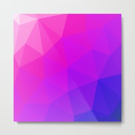 Magenta and Violet Low Poly Pattern Metal Print