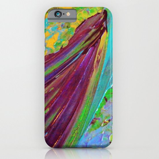 COLOR CHAOS Wild Vibrant Colorful Abstract Acrylic Painting Lime Green Plum Purple Gift Art Decor iPhone & iPod Case