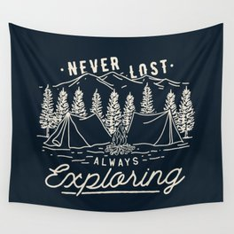 Never Lost Always Exploring (Cream) Wall Tapestry