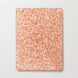 Tiny Spots - White and Dark Orange Metal Print
