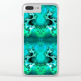 Here be Dragons (emerald green) Clear iPhone Case