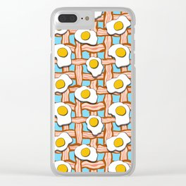 bacon and eggs on blue background Clear iPhone Case