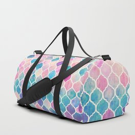 Rainbow Pastel Watercolor Moroccan Pattern Duffle Bag