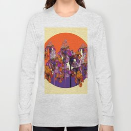 "modern art "" PURPLE & CREAM "" ORANGE IRIS GARDEN Long Sleeve T-shirt"