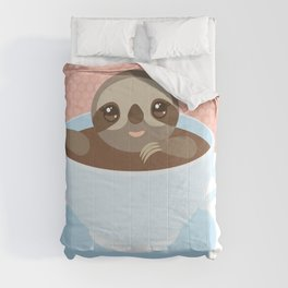 Sloth in a blue cup coffee, tea, Three-toed slot Comforters