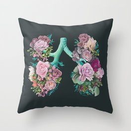 Floral Lungs Throw Pillow