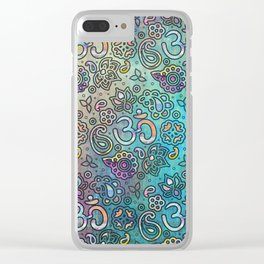 Pastel  Turquoise watercolor  OM symbol pattern Clear iPhone Case