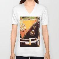 volkswagon V-neck T-shirts featuring Volkswagon Van by Alexandra Kube