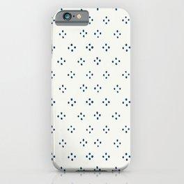 Hand Drawn Dot Block Blue on Beige iPhone Case