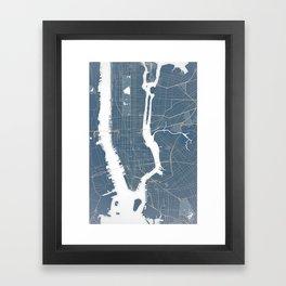 New York City - Detailed Road & Subway Map Framed Art Print