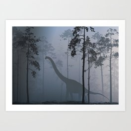 Dinosaur by Moonlight Art Print