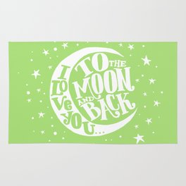 i love you to the moon and back - green Rug