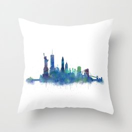 NY New York City Skyline NYC Watercolor art Throw Pillow