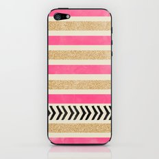 PINK AND GOLD STRIPES AND ARROWS iPhone & iPod Skin
