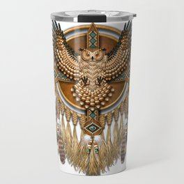 Native American-Style Great Horned Owl Mandala Travel Mug