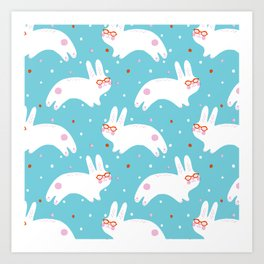Happy Bunnies with Glasses Art Print