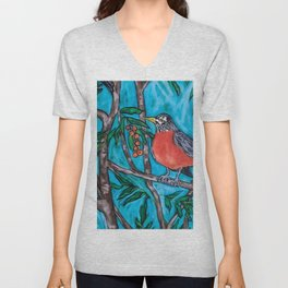 Robin Redbreast in the Mountain Ash Unisex V-Neck