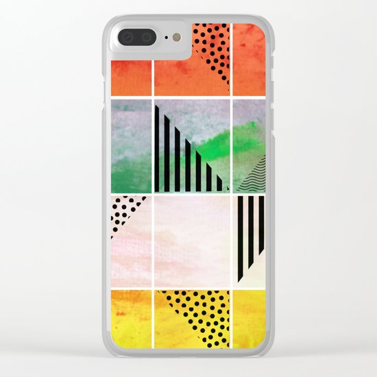 Mosaic Abstract coral Clear iPhone Case