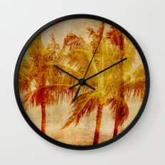 Vintage Hawaii Palm Trees Wall Clock