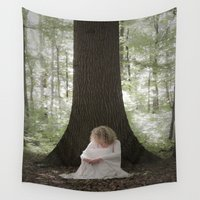 depression Wall Tapestries featuring Waiting in the woods by Maria Heyens