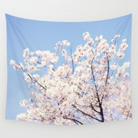cherry blossoms Wall Tapestries featuring Cherry Blossoms by myhideaway
