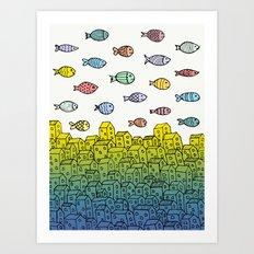 Underwater village II Art Print