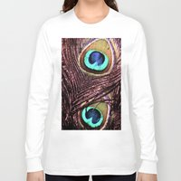 peacock feather Long Sleeve T-shirts featuring Peacock Feather by Art by Jolene