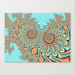 Owl Fractal Turquoise and Orange Canvas Print