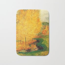 Classical Masterpiece 'By the Stream - Autumn' by Paul Gauguin Bath Mat