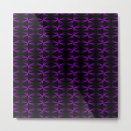 A vibrant grid of black rhombuses with intersecting violet diagonal lines and triangles. Metal Print