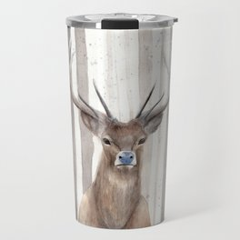 """Watercolor Painting of Picture """"Deer in Winter Forest"""" Travel Mug"""