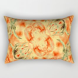 Yellow and Orange Floral Pattern Rectangular Pillow
