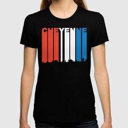 Red White And Blue Cheyenne Wyoming Skyline T-shirt