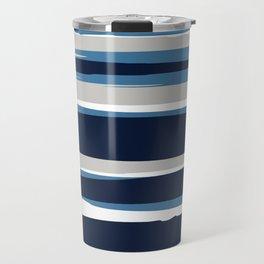 Striped Modern Beach Landscape Blue Grey Travel Mug