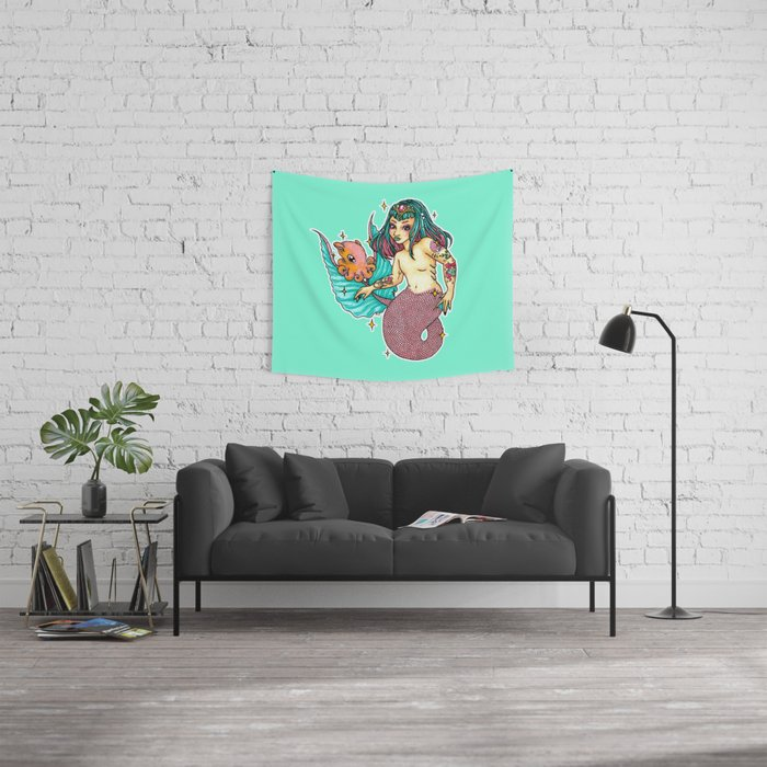 Mermaid Amphitrite Wall Tapestry