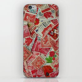 Vintage Postage Stamp Collection - Red iPhone Skin