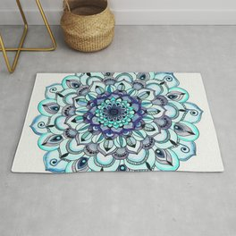 Tide Meets Shore - Blue Mandala Rug