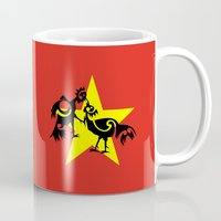vietnam Mugs featuring Vietnam Flag, Roosters Sparring by mailboxdisco