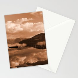 Monochrome Cloudy Lakescape  Stationery Cards