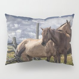 Western Horses in the Pasture by a Wooden Fence Pillow Sham