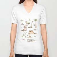 dinosaurs V-neck T-shirts featuring Dinosaurs by Sophie Corrigan