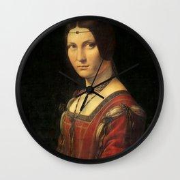 Leonardo da Vinci - Ritratto di donna, dice La Belle Ferronnière Wall Clock
