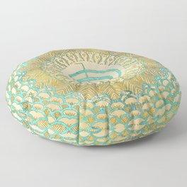 Pastel and Gold  Choku Rei Symbol in Mandala Floor Pillow
