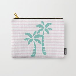 Palm Trees & Stripes - Aqua / Blush Carry-All Pouch