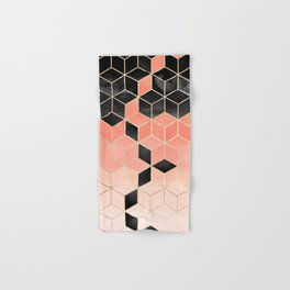 Black And Coral Cubes Hand & Bath Towel